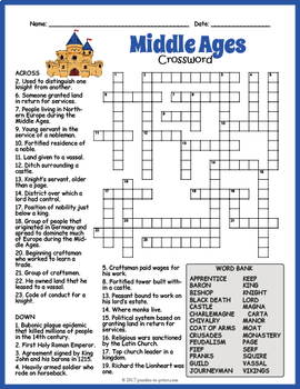Middle Ages Crossword Puzzle by Puzzles to Print | TpT