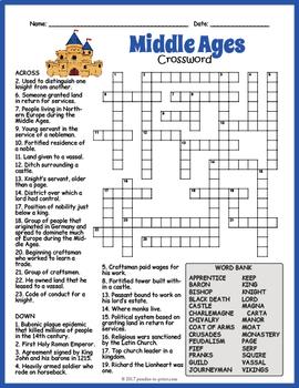 No Prep Medieval Times Activity Middle Ages Crossword Puzzle Tpt