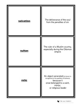 Middle Ages Crusades Matching Game or Flash Cards