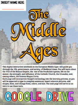 Middle Ages DIGITAL Notebook! Google Drive Interactive Notebook for Middle Ages!