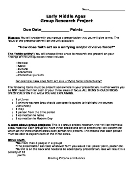 Middle Ages Europe: Group Research Project!