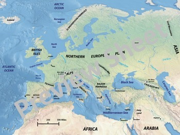 Middle Ages - European Geography Map