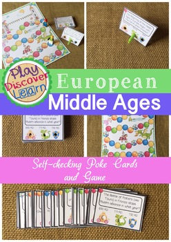 Middle Ages European Game & self-checking Task Cards / Poke Cards