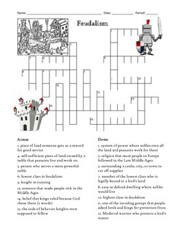 Middle Ages Feudalism Crossword