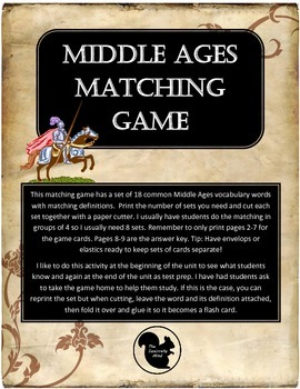 Middle Ages Feudalism Matching Game or Flash Cards