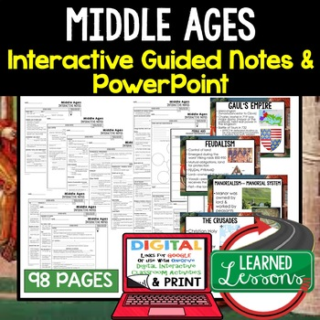 Middle Ages Guided Notes and PowerPoints, Interactive Notebooks, Google