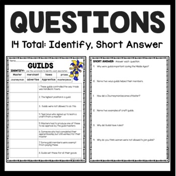 Middle Ages Guilds Article and Questions World and European History