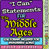 "Middle Ages ""I Can"" Statements & Learning Goals! Log & Measure Medieval Goals!"