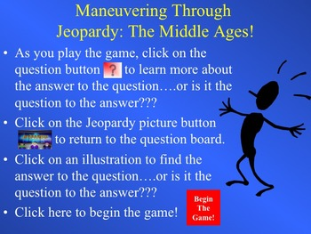 Middle Ages Jeopardy Interactive PowerPoint Game