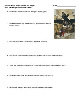 Middle Ages Key Terms Test or Quiz with Video Study Guide