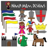 Middle Ages Kids Clip Art in Color and Black Line