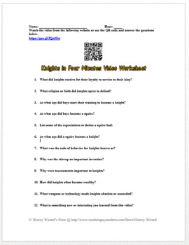 Middle Ages: Knights in Four Minutes Video Worksheet