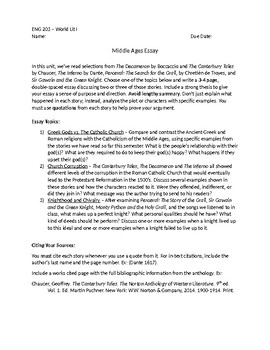 Middle Ages Literature Analysis Essay