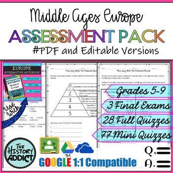 Middle Ages (Medieval) Europe Assessment Pack – Tests & Quizzes