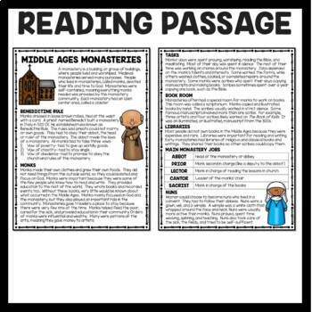 Middle Ages Monasteries Reading Comprehension, European and World History