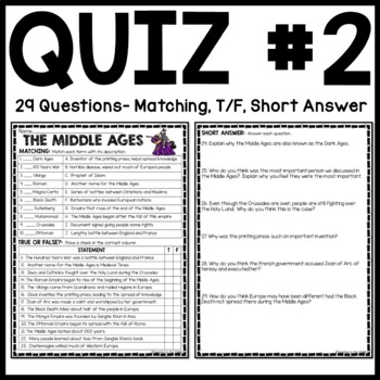 Middle Ages Overview Quiz- 30 Questions, Corresponds with Powerpoint