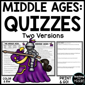Middle Ages Overview Quiz- 30 Questions, Corresponds with