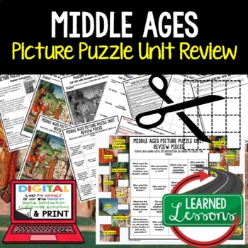 Middle Ages Picture Puzzle Unit Review, Study Guide, Test Prep