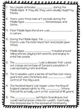 Middle Ages Quiz- Fill in the blank