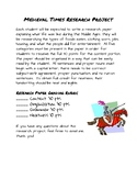 Middle Ages Research Project