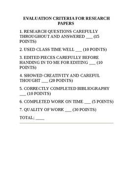 Middle Ages Research Project Rubric