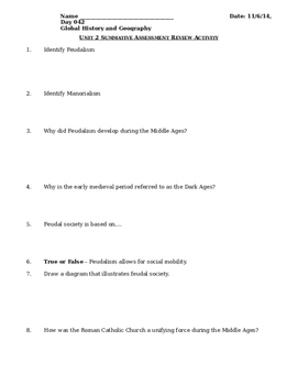 Day 040_Middle Ages: Review Activity - Lesson Handout