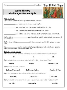 Middle Ages Review Quiz