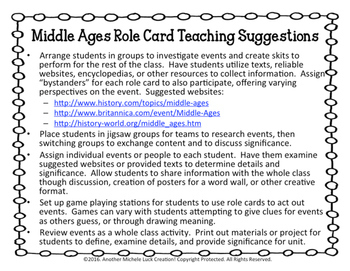 Middle Ages Role Cards Activity
