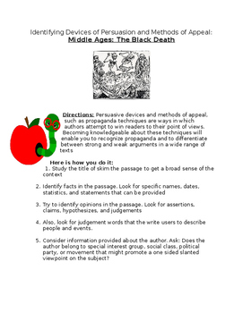 Middle Ages: The Black Death- Persuasion and Methods of Appeal Wksht