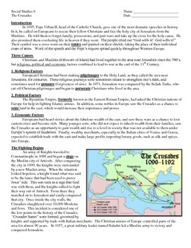 Middle Ages -- The Crusades