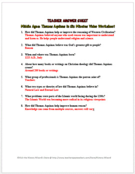 Middle Ages: Thomas Aquinas in Six Minutes Video Worksheet
