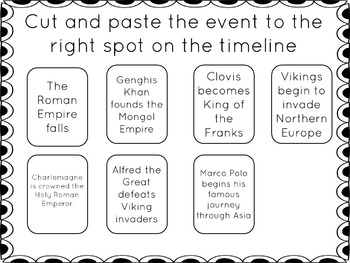 Middle Ages Timeline Activity