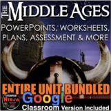 Middle Ages Unit - PPTs, Worksheets, Lesson Plans, Test + Distance Learning vers