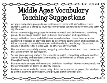 Middle Ages Vocabulary Activity