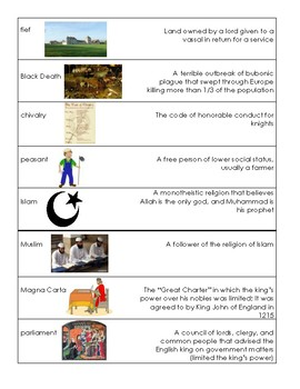 Middle Ages Vocabulary Cards (S.S. Framework aligned)