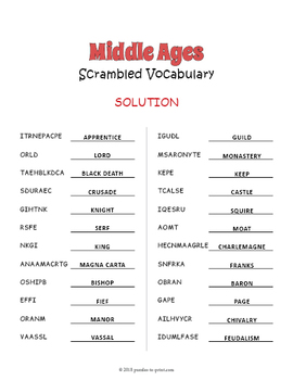 Middle Ages Vocabulary Word Scramble