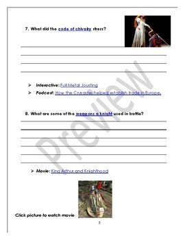 Middle Ages Web Quest with Rubric & Quiz