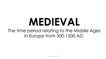 Middle Ages Word Wall Cards