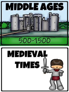 Middle Ages Word Wall Cards and Matching Activity, Dark Ages, Medieval