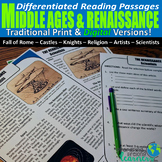 Middle Ages and Renaissance Differentiated Reading Passage
