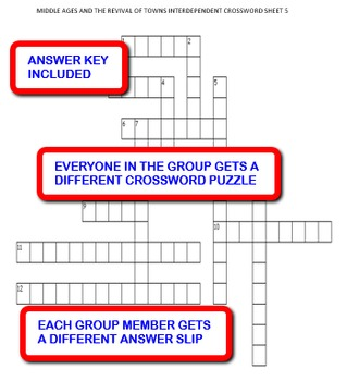 Middle Ages and the Revival of Towns: Interdependent Crossword Puzzles  Activity