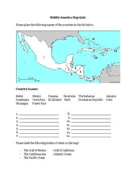 Middle America Map Quiz Middle America Map Quiz by Jenny B's History | Teachers Pay Teachers