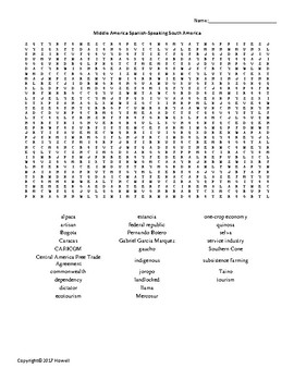 Middle America and Spanish-Speaking South America Word Search for Geography