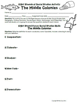 Middle Colonies Activities and Worksheets