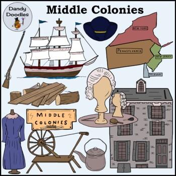 Middle Colonies Clip Art by Dandy Doodles