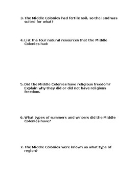 Middle Colonies Comprehension Questions