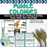 Middle Colonies Interactive Notebook, Writing Activities, and Test