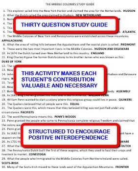 Middle Colonies: Interdependent Answer Sheets Activity