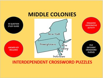 Middle Colonies: Interdependent Crossword Puzzles Activity