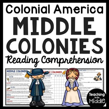 Middle Colonies Reading Comprehension Worksheet
